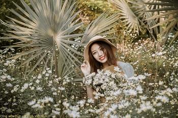 Người mẫu Jery Nasa Kim chụp ảnh dưới vườn cúc họa mi và cọ lá bạc